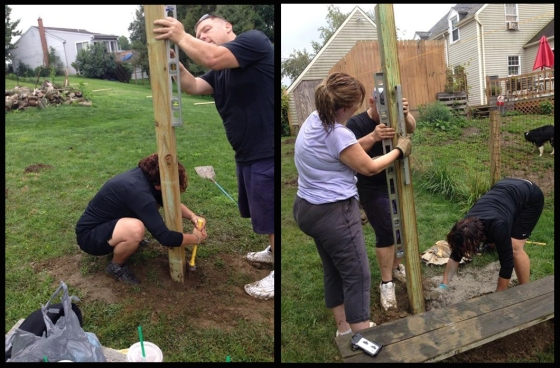 Putting up the fence with Rob & Mrs. Karen