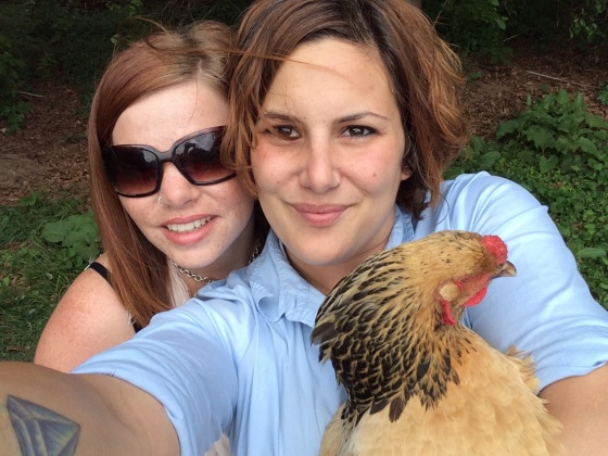 You see, here we are loving on a chicken. It's how we do.
